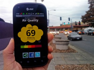 The CitiSense sensors transmit their air quality readings to smart phones.