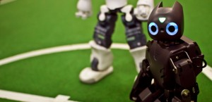 The DARwIn-OP humanoid soccer-playing robot may look like a toy, but is a platform for groundbreaking artificial intelligence research. Credit: David Budden