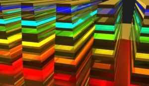 """An up-close look at the """"hyperbolic metamaterial waveguide,"""" which catches and ultimately absorbs wavelengths (or color) in a vertical direction."""
