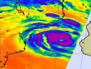 On Feb. 20 at 1111 UTC (6:11 a.m. EST/US) the AIRS instrument aboard NASA's Aqua satellite captured this infrared image of Tropical Cyclone Haruna. The area of strongest thunderstorms appear in purple, where cloud top temperatures were colder than -63F (-52C), and circle the large eye (yellow). Credit: NASA JPL, Ed Olsen