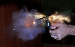Bullet shot from a revolver releases smoke that contains lead. Image credit: Niels Noordhoek