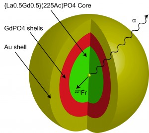 The nanoparticle that Robertson's research team created is multi-layered. At the core, lies the element, actinium, surrounded by four layers of material. Robertson's team then coated the nanoparticle with gold.