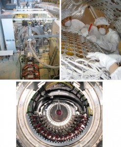 (Top left) The apparatus of the MEG experiment in theπE5 beam line of the Paul Scherrer Institute,  (top right) the inside of the LXe γ-ray detector when many photo-sensors to detect LXe scintillation light from γ-ray interactions were being assembled, and  (bottom) the positron spectrometer where an oval-shaped thin plastic target to stop the muon beam is surrounded by radially aligned drift chamber modules for a precise measurement of the positron track. © MEG collaboration