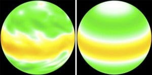 """Computer-generated images of a planet's """"zonal velocity"""" (the west-to-east component of wind) use direct numerical simulation (the traditional approach, left) and direct statistical simulation. The latter has limits, but its development is at a very early stage. Credit: Marston lab/Brown University"""