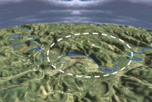 3-D perspective map of the Decorah impact feature looking northward. (Credit: USGS/Adam Kiel graphic/Northeast Iowa RC&D). Read more: https://www.universetoday.com/100534/giant-ancient-impact-crater-confirmed-in-iowa/#ixzz2Mr17qQpY