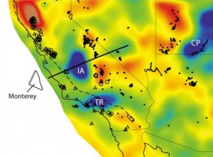The Isabella anomaly (IA, above), is at the same depth (ca. 100 km) as other fragments of the Farallon plate under Oregon and Washington, is on a line with fragments off the California coast, and has a similar seismic tomography signature. Credit: Forsyth lab/Brown University