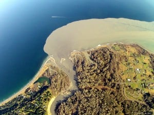 A century of accumulated sediment fans out at the Elwha river mouth. Image: Tom Roorda