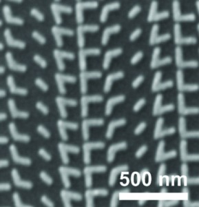 Scanning electron microscopy image of a metasurface comprised of V-shaped antennas with a variety of arm configuations.