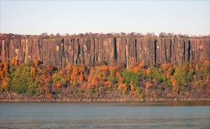 Palisade Sill on the Hudson River at Alpine, N.J. This 80 kilometer long intrusion forming the western edge of the Hudson River represents less than 0.2 percent of the total volume of magma erupted during the 201-million-year-old Central Atlantic Magmatic Province (CAMP). Photo courtesy of the researchers.