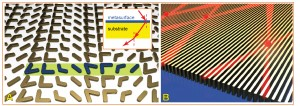 "This schematic view of a nanoantenna array (A), at left, is an example of new plasmonic metasurfaces that are promising for various advances, including a possible ""hyperlens"" that could make optical microscopes 10 times more powerful. At right (B) is a ""hyperbolic metasurface,"" a tiny metallic grating for enhancing ""quantum emitters,"" which could make possible future quantum information systems far more powerful than today's computers. (Birck Nanotechnology Center, Purdue University)"