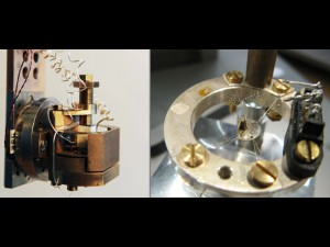 Measurement devices for extreme dimensions: the thermal expansion cell (left) facilitates measuring changes in length of less than one nanometre, i.e. one millionth of a millimetre, at temperatures between 6 and 0.05 Kelvin – this is -267.15, or 273.1 degrees Celsius. In this way, they can observe the phase transition between ferromagnetic and paramagnetic states, during which the volume of the sample changes. With the instrument at the right, the researchers measure how much heat their sample absorbs or gives off in high magnetic fields and at low temperatures. This reveals to the researchers which type of phase transition the material has passed through. © MPI for Chemical Physics of Solids