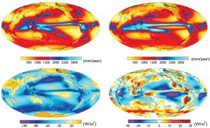 Upper left shows historical rainfall, and upper right is an average of climate models' estimates — notice the longer blue and red rain bands south of the equator. Lower left is the observed effect of low-level clouds, and lower right is the difference between the measurements and the average model output. Credit: Y.-T. Hwang, UW