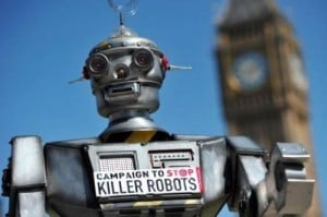 """A mock """"killer robot"""" pictured in central London on April 23, 2013 during the launch of the Campaign to Stop """"Killer Robots"""". A global rights group launched the campaign on Tuesday to ban Terminator-style """"killer robots"""" amid fears the rise of drone warfare could lead to machines with the power to make their own decisions about killing humans."""