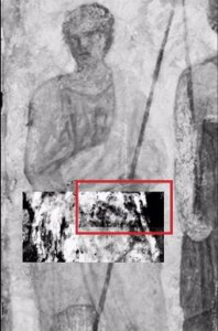 Terahertz rays unveil for the first time a hidden image (red box) of a man's face under the surface of a famous fresco, or mural, in Paris' Louvre Museum.Credit: J. Bianca Jackson, Ph.D. and Dominique Martos-Levif