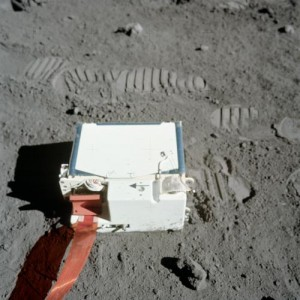 The Lunar Atmospheric Composition Experiment (LACE) deployment during the Apollo 17 mission. Credit: NASA