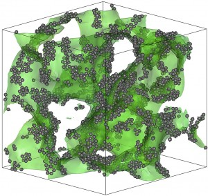 In a 50/50 mix of copper and niobium, regions that are richer in copper separate from regions that are richer in niobium. The interface between these two kinds of regions forms an irregular sponge-like surface, shown in this visualization in green. While most of the material is disordered (making it a glass), small collections of atoms at the boundary zone (shown in gray) form a stiff interconnected network, giving the material greater strength. Credit: Researchers