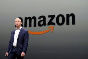 """Jeff Bezos, CEO of Amazon, introduces new Kindle Fire HD Family and Kindle Paper on September 06, 2012 in Santa Monica, California. US online giant Amazon has unveiled plans for a futuristic greenhouse style headquarters """"where employees can work and socialize in a more natural, park-like setting."""""""