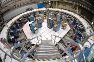 The Muon g-2 storage ring, in its current location at Brookhaven National Laboratory in New York. The ring, which will capture muons in a magnetic field, must be transported in one piece, and moved flat to avoid undue pressure on the superconducting cable inside. Credit: Brookhaven National Laboratory