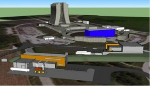 Conceptual drawing of the buildings on the Fermilab site that will host the new Muon g-2 and Mu2e experiments. Credit: Fermilab