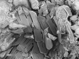 This scanning electron microscope image shows crystals of the mineral nashite – named in honor of University of Utah geologist Barbara Nash – from the old Little Eva uranium mine near Moab, Utah. Photo Credit: University of Utah