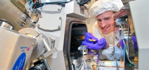 CFN's Kim Kisslinger, seen here with a focused-ion beam instrument, reduced the InGaN samples to a thickness of just 20 nanometers to prepare them for electron microscopy.