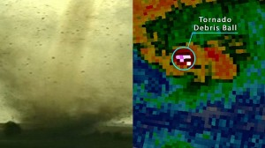 Dual-pol technology can also identify non-weather targets such as bugs, bats or debris from a tornado producing damage on the ground. Credit: NOAA