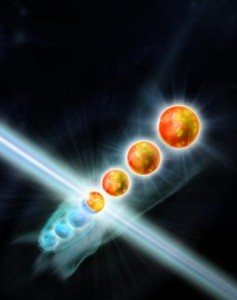 The physicists engineer a classical environment, which generates dissipative dynamics, leading to fragile long-range quantum mechanical correlations between distant particles. Credit: IQOQI/Ritsch