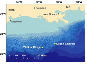 Stars show the locations of seismic surveys conducted to image previously-identified deepwater gas hydrate deposits in the northern Gulf of Mexico on the research ship Pelican during a cruise in April and May 2013.