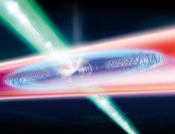 Photo: The cigar-shaped particle cloud is locally heated with a power-modulated laser beam (green). Photo: IQOQI/Ritsch