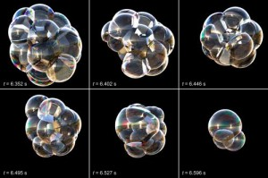 Snapshots from a multiscale model of membrane rearrangement, drainage and rupture in a cluster of soap bubbles, shown using thin-film interference. Credit: Saye & Sethian, UC Berkeley/LBNL