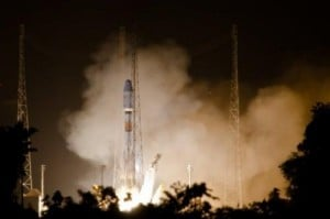 "A Soyuz rocket lifts off on December 16, 2011 from Europe's space base in Sinnamary, 12km from Kourou, French Guiana. The first four of 12 satellites in a new constellation to provide affordable, high-speed Internet to people in nearly 180 ""under-connected"" countries, will be shot into space on Tuesday, the project's developers said."
