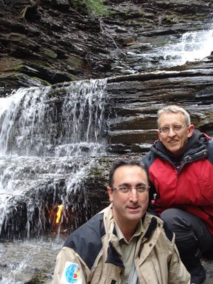 "Giuseppe Etiope, left, of the National Institute of Geophysics and Volcanology in Italy, and Arndt Schimmelmann of the IU Bloomington Department of Geological Sciences in front of the ""eternal flame"" at Chestnut Ridge Park in western New York."