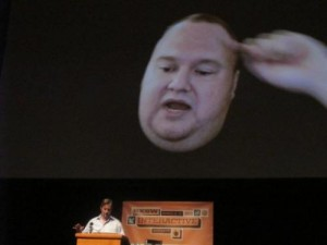 Megaupload founder Kim Dotcom appears on March 11, 2013 via video link in the United States from New Zealand. A US bid to extradite him for alleged online piracy has been delayed until at least November, court officials said.