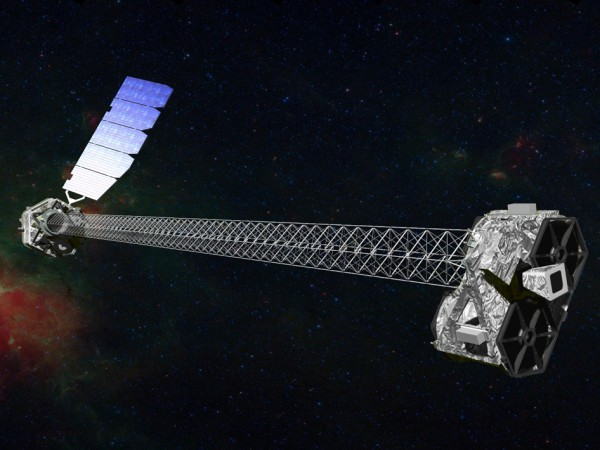 Artist's concept of NuSTAR on orbit. NuSTAR has a 10-m (30') mast that deploys after launch to separate the optics modules (right) from the detectors in the focal plane (left). Image credit: NASA/JPL-Caltech