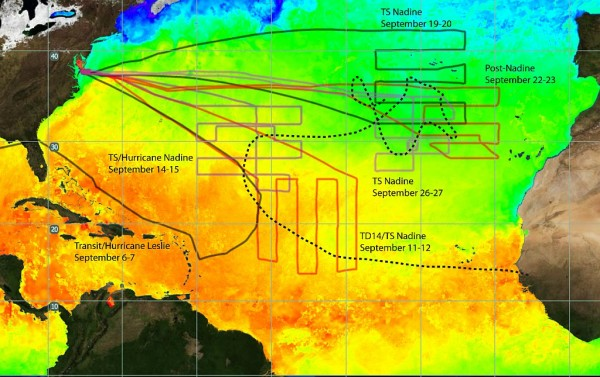 NASA's Global Hawk flew five science missions into Tropical Storm/Hurricane Nadine, plus the transit flight circling around the east side of Hurricane Leslie. This is a composite of the ground tracks of the transit flight to NASA Wallops plus the five science flights. TD means Tropical Depression; TS means Tropical Storm. Credit: NASA