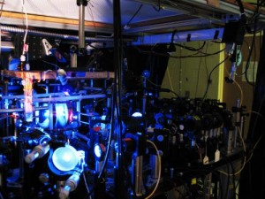 This is the experimental setup used to measure the entanglement between light and an optical atomic excitation in the laboratory of Alex Kuzmich. Credit: Kuzmich Physics Lab