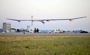 File picture shows the Solar Impulse plane taking off from Moffett Field NASA Ames Research Center in Mountain View, California on May 3, 2013. The single-seater, solar-powered Solar Impulse aircraft landed near the US capital early Sunday, on the second to last leg of its cross-country journey, organizers said.