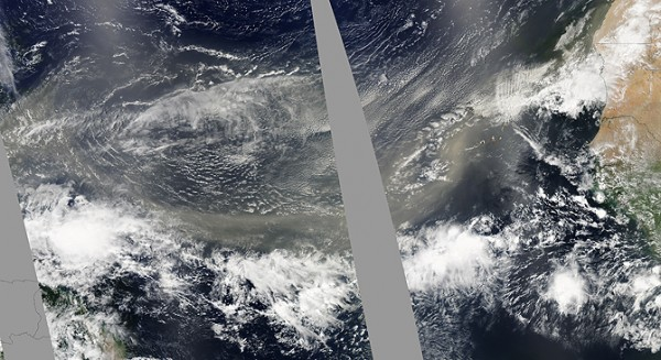 A well-defined plume of dust swept across the entire Atlantic Ocean on June 24, 2009. In this photo-like image taken by the Moderate Resolution Imaging Spectroradiometer (MODIS) on NASA's Aqua satellite in three consecutive overpasses, the dust stretches from its origins in Africa's Sahara Desert to the Lesser Antilles Islands on the eastern edge of the Caribbean Sea. Such spectacular dust storms are not uncommon. Credit: NASA image by Jeff Schmaltz, MODIS Rapid Response. Caption by Michon Scott and Holli Riebeek with information provided by William Lau, NASA Goddard Space Flight Center.