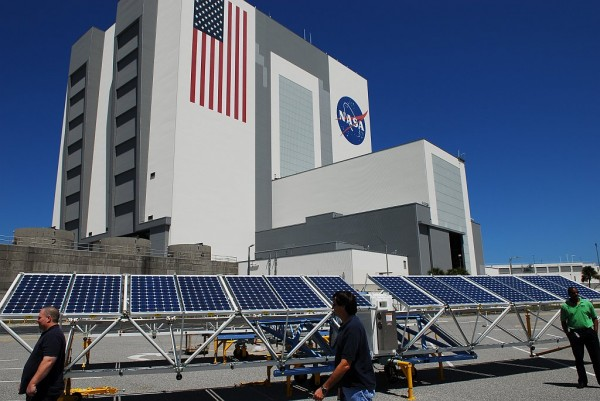 The solar power generator prototype was unfolded in the Vehicle Assembly Building parking lot in 2011. Since then, the design has been modified to make a larger array set that folds up into the same amount of space.