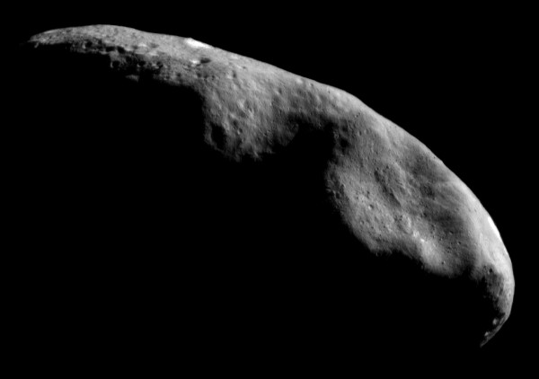 The asteroid Eros was studied up-close by NASA's NEAR mission that included landing the spacecraft on the asteroid in February 2001. Photo credit: NASA