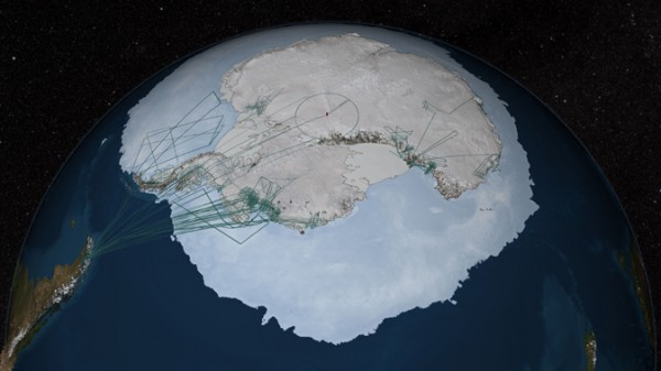 A significant portion of the data in Bedmap2 was collected by NASA's Operation IceBridge. Flight paths from the 2009, 2010 and 2011 Antarctic campaigns are shown here as dark green lines. NASA DC-8 flights originated from Punta Arenas, Chile, on the left side of the image. Flight lines in East Antarctica represent surveys flown by the Institute for Geophysics at the University of Texas at Austin, one of IceBridge's partnering organizations. Credit: NASA Goddard's Scientific Visualization Studio