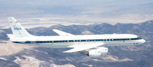 NASA's DC-8 flying laboratory will carry a team of scientists and their sensors for the Studies of Emissions, Atmospheric Composition, Clouds and Climate Coupling by Regional Surveys (SEAC4RS) campaign. SEAC4RS will investigate how pollution and natural emissions affect atmospheric composition and climate. (NASA / Lori Losey)