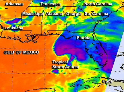 This infrared image of the temperatures of Tropical Storm Andrea's cloud tops was taken by the AIRS instrument aboard NASA's Aqua satellite on June 6 at 2:41 a.m. EDT. The dark purple indicates coldest cloud top temperatures (in excess of -63F/-52C) and heavy rainfall. At that time, most of the heaviest precipitation was over the eastern Gulf of Mexico and southeastern Florida. Credit: NASA JPL, Ed Olsen