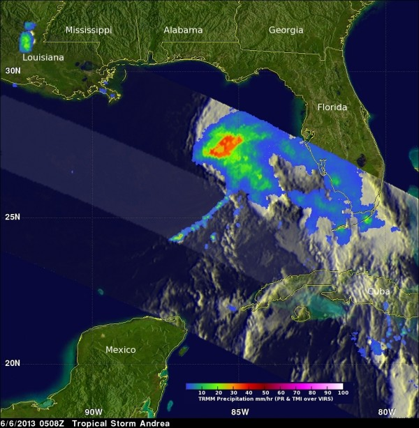 On June 6, TRMM showed that Andrea had a large area of moderate to heavy rainfall in the northeast quadrant of the storm and precipitation was spreading over the state of Florida. The cloud cover extended over the northern half of Florida, but was out of range of TRMM's orbit. Credit: SSAI/NASA, Hal Pierce