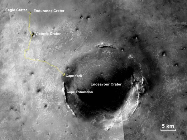"""This map shows the 22.553-mile (36.295-kilometer) route driven by NASA's Mars Exploration Rover Opportunity from the site of its landing, inside Eagle crater at the upper left, to its location more than 112 months later, in late May 2013, departing the """"Cape York"""" section of the rim of Endeavour crater. Image credit: NASA/JPL-Caltech/MSSS/NMMNHS"""