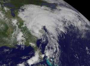 NOAA's GOES-14 satellite provided this visible image of Tropical Storm Andrea on Friday, June 7 at 2:31 p.m. EDT. The center of Andrea was near Fayetteville, North Carolina at the time, and the bulk of the clouds and rain stretched from northwest to northeast of the center. Andrea's clouds extended over the Great Lakes and New England. Credit: NASA/NOAA GOES Project