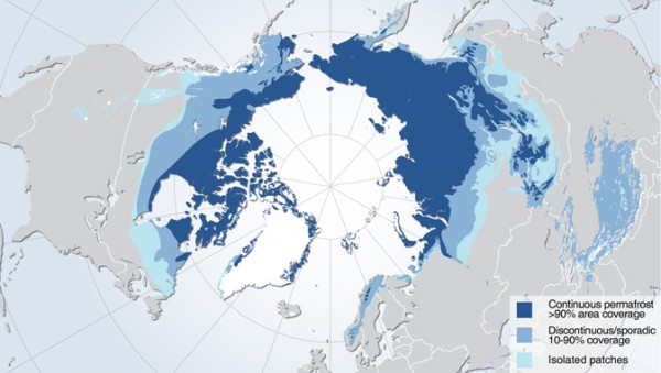 Permafrost zones occupy nearly a quarter of the exposed land area of the Northern Hemisphere. NASA's Carbon in Arctic Reservoirs Vulnerability Experiment is probing deep into the frozen lands above the Arctic Circle in Alaska to measure emissions of the greenhouse gases carbon dioxide and methane from thawing permafrost - signals that may hold a key to Earth's climate future. Image credit: Hugo Ahlenius, UNEP/GRID-Arendal