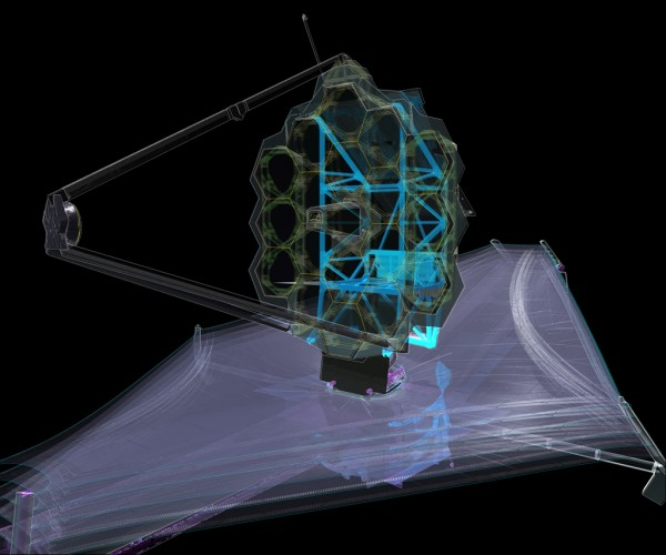 This x-ray diagram of NASA's James Webb Space Telescope shows where the backplane support frame (BSF) is in relation to the whole observatory. The BSF is the backbone of the observatory, is the primary load carrying structure for launch, and holds the science instruments. Photo Credit: Northrop Grumman