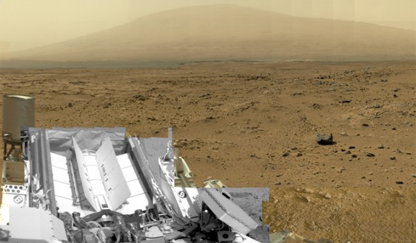 "This is a reduced version of panorama from NASA's Mars rover Curiosity with 1.3 billion pixels in the full-resolution version. It shows Curiosity at the ""Rocknest"" site where the rover scooped up samples of windblown dust and sand. Curiosity used three cameras to take the component images on several different days between Oct. 5 and Nov. 16, 2012. Viewers can explore this image with pan and zoom controls at https://mars.nasa.gov/bp1/. Image credit: NASA/JPL-Caltech/MSSS"