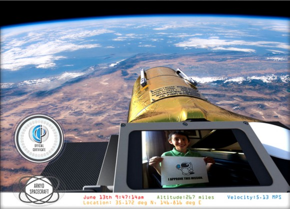 Example of an orbital 'selfie' that Planetary Resources' ARKYD telescope could provide to anyone who donates to their new Kickstarter campaign. Credit: Planetary Resources